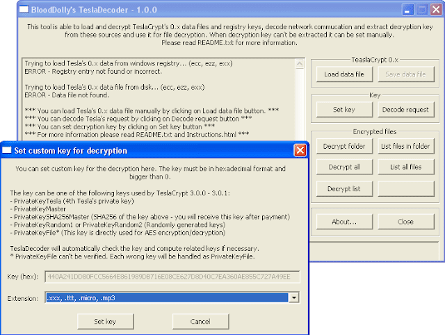 TeslaDecoder indicare estensione file criptati da TeslaCrypt