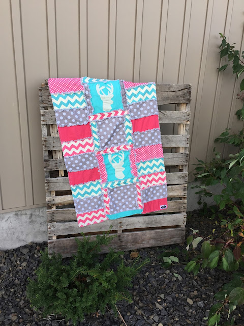 Gray Stag Quilt for Baby Girl with Pink and Aqua