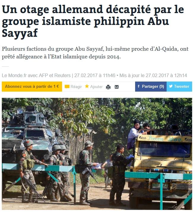 Un otage allemand décapité par le groupe islamiste philippin Abu Sayyaf