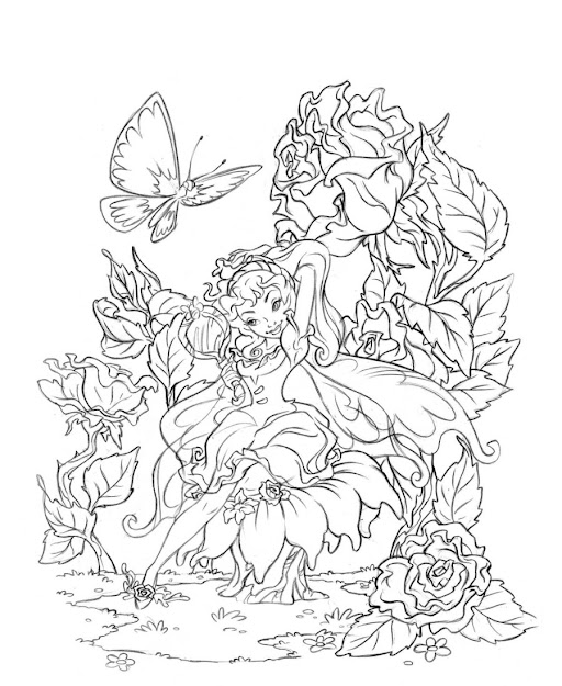 Plicated Coloring Pages For Adults  Fairies Coloring Book Rosetta  Cleanup