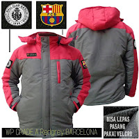 Jual Jaket Waterproof Bola Barcelona Grade A Logo Velcro