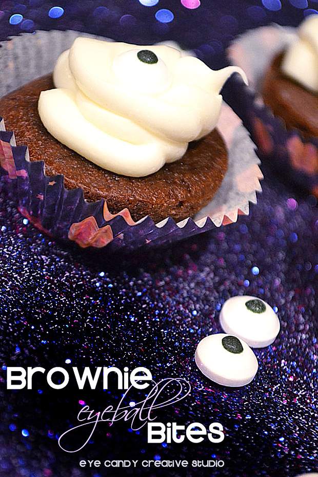 brownie bites, icing on brownie bites, eyeballs, halloween treats