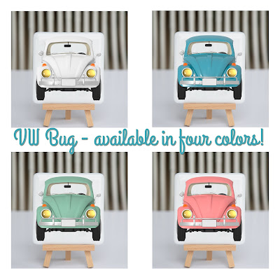fusography, vw bug, fused glass, full color photo on fused glass