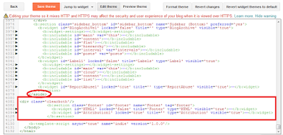 Programming blog customization of the footer