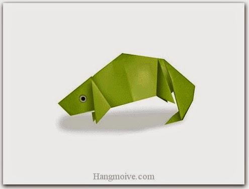 Cách gấp, xếp tắc kè bằng giấy origami - Video hướng dẫn xếp hình Động vật - How to fold a Chameleon