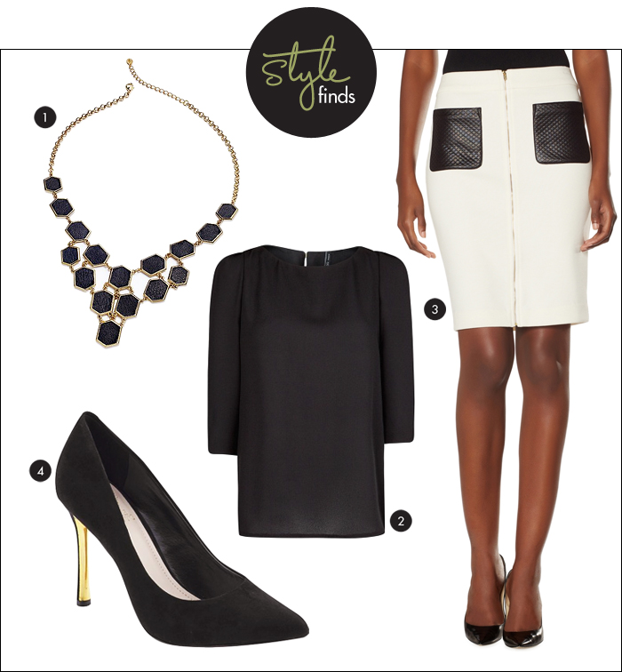 white and black trend, black pumps, statement necklace, zipper skirt, quilted skirt, pencil skirt, vince camuto, the limited, macy's, mango, piperlime, shoe sale