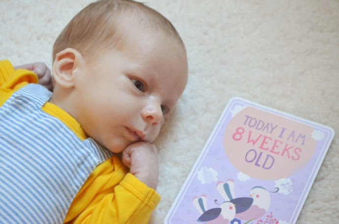 8 weeks old, milestone cards, 8 week old baby, baby boy