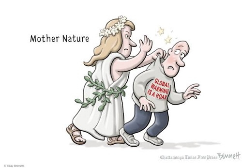 Toon of the Week - Mother Nature Slaps Global Warming Is a Hoax T-Shirter (Credit: www.facebook.com/iheartcomsci)