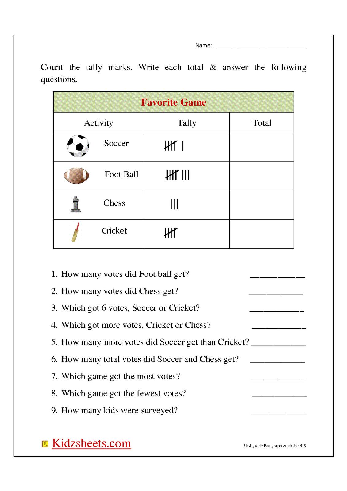 Kidz Worksheets: First Grade Bar Graph3 [ 1600 x 1131 Pixel ]