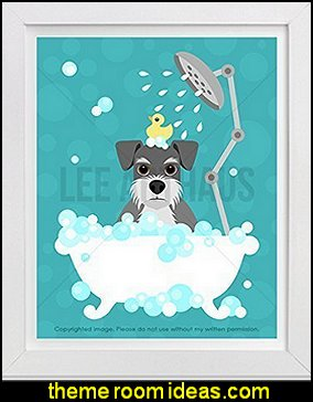 Schnauzer Dog in Bubble Bath print