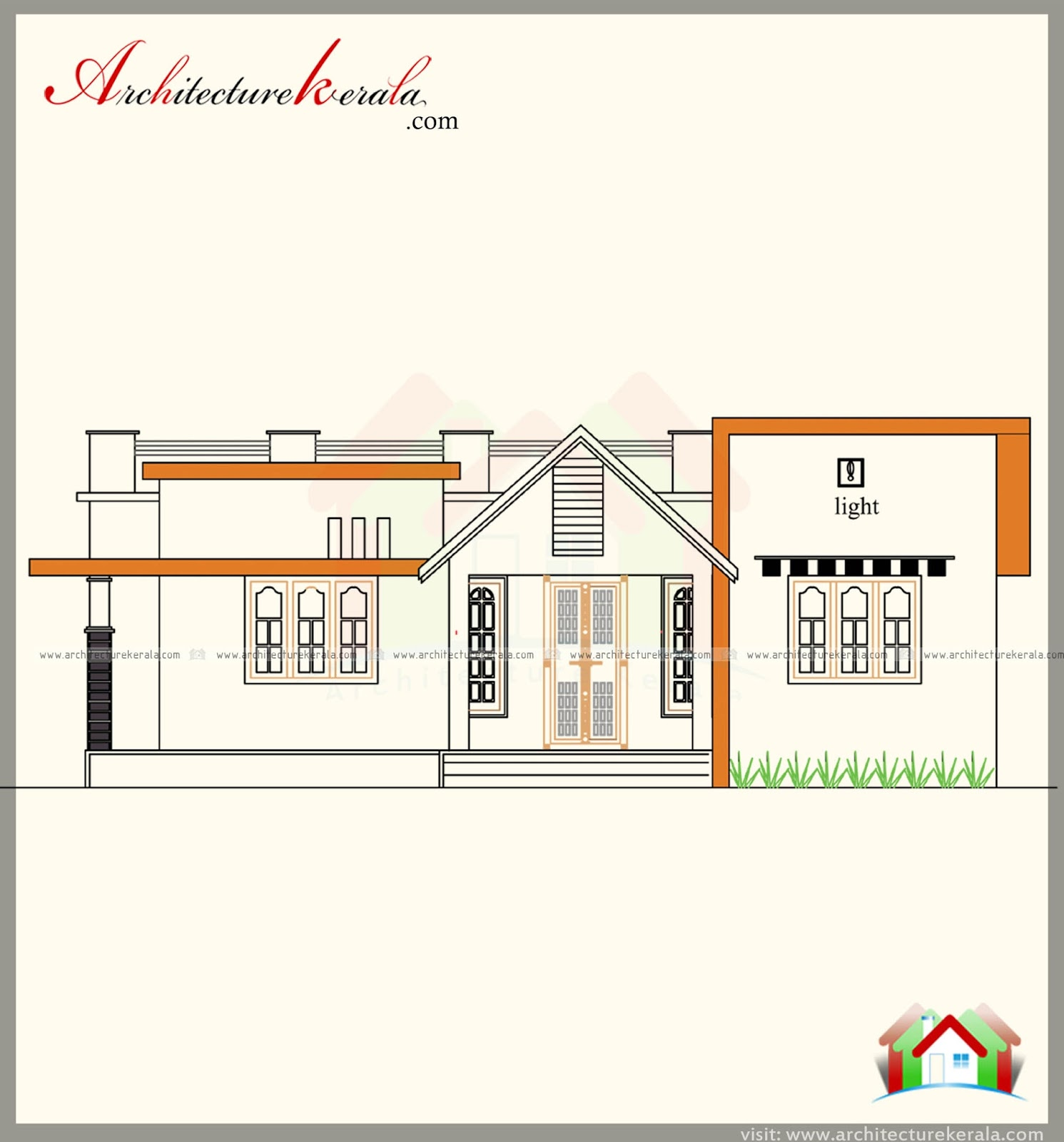 1100 square feet house plan and modern style elevation for Modern house plans for 1600 sq ft