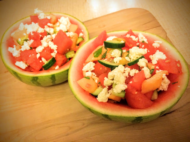 watermelon bowls with cucumber melon salad with feta cheese