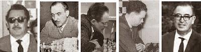Los ajedrecistas Venancio del Hoyo, Jaume Lladó, Francisco José Pérez, Ángel Jimeno y Pere Cherta