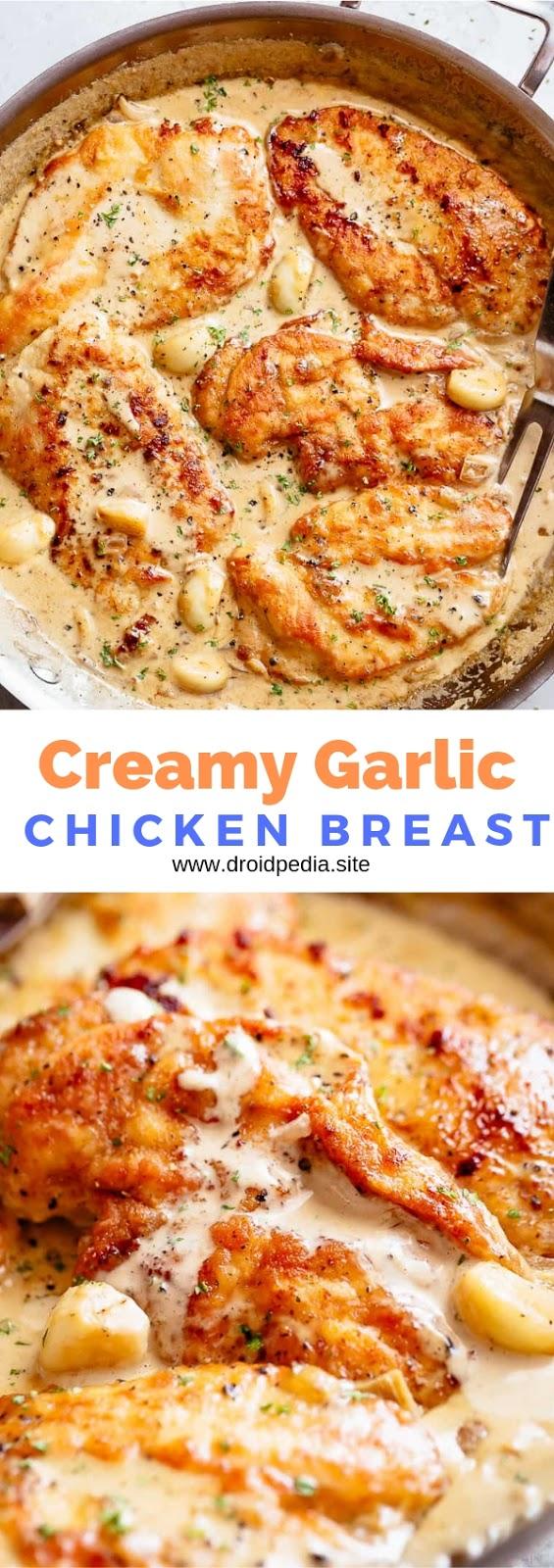 Creamy Garlic Chicken Breast #dinner #maincourse #creamy #garlic #chicken #breast