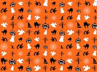 Muster mit Halloween-Motiven in Orange, Schwarz und Weiß