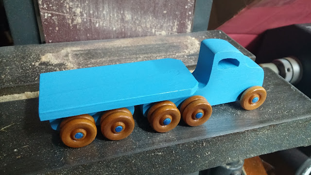 Wooden Toy Trailer Truck Blue Flat Bed on Shopsmith Belt Sander Table