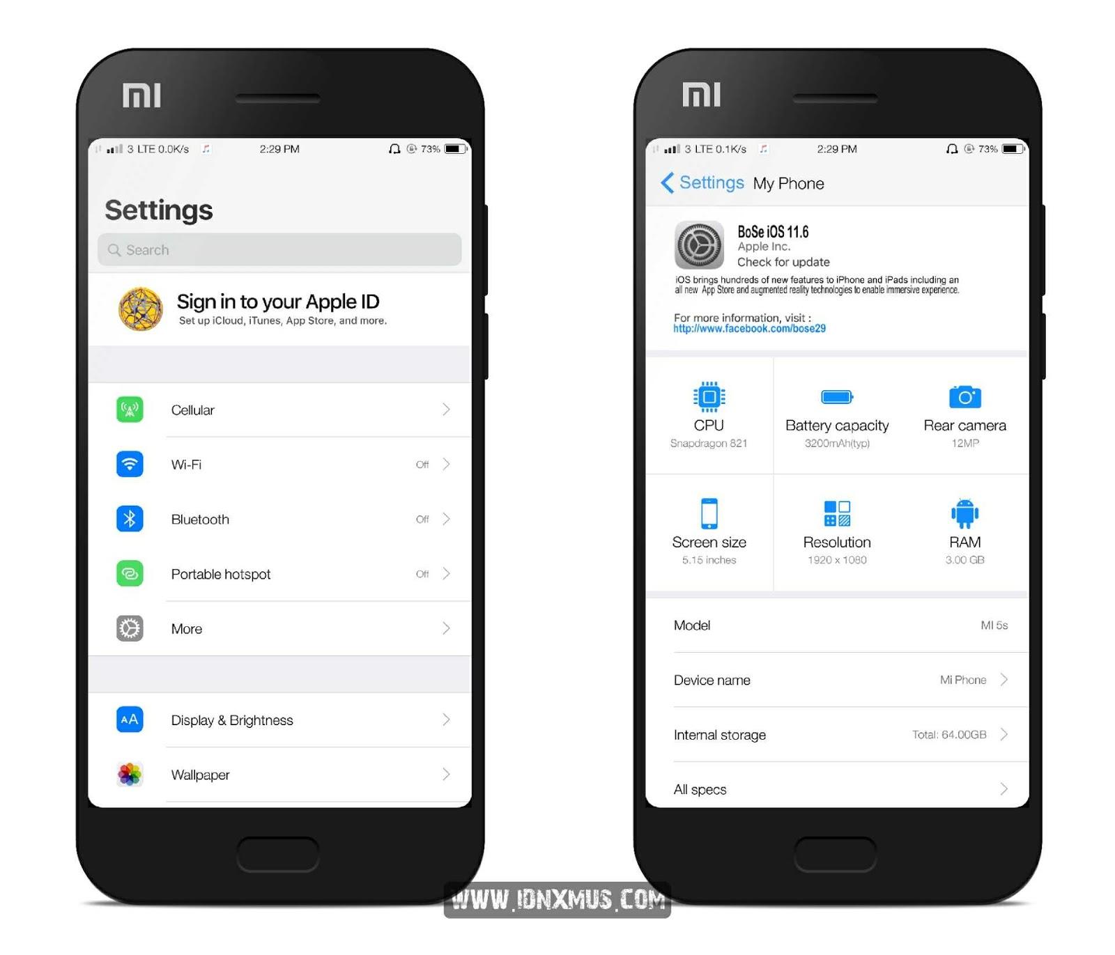 MIUI Theme MiBose iOS 11.6x