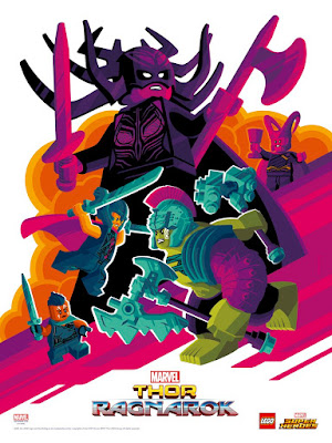 San Diego Comic-Con 2017 Exclusive Thor Ragnarok LEGO Marvel Movie Poster by Tom Whalen