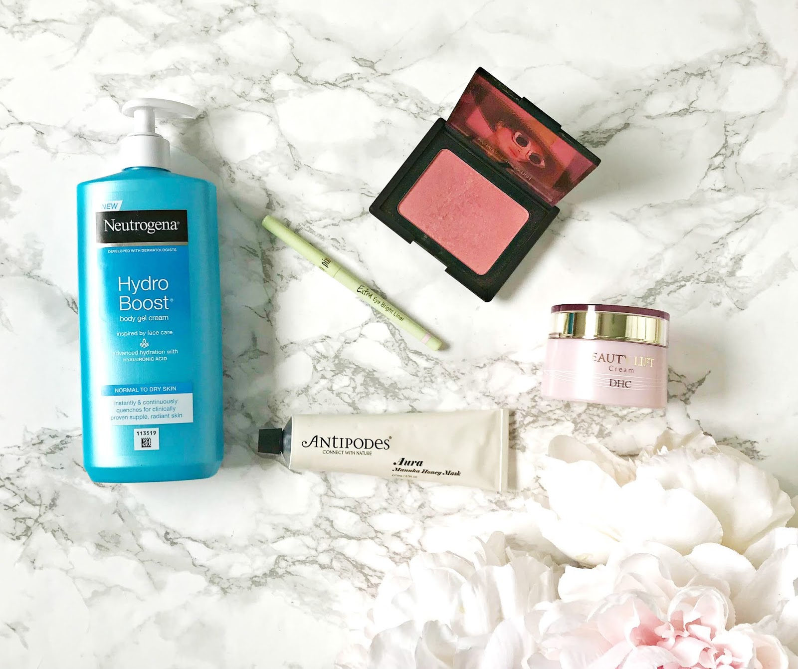 Neutrogena Hydro Boost Body Gel Cream Review, DHC Beauty Lift Cream Review, Antipodes Aura Manuka Honey Mask Review, Nars Orgasm Blush Review, Pixi Extra Eye Bright Liner Review