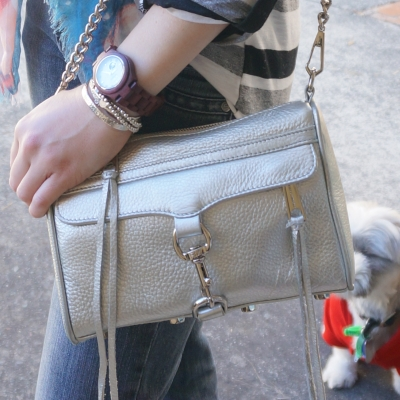 Rebecca Minkoff metallic silver mini MAC bag bracelet stack | Away From The Blue
