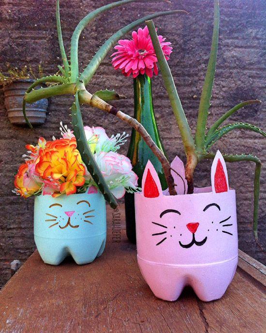 Vasos de Garrafa Pet Gatinhos