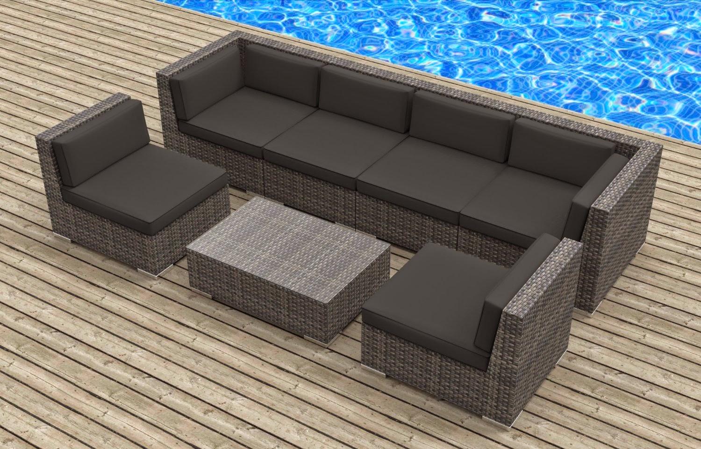Outdoor Furniture Sofa Sectional Leather Fabric Cover Urban Furnishing Modern Backyard Wicker Rattan