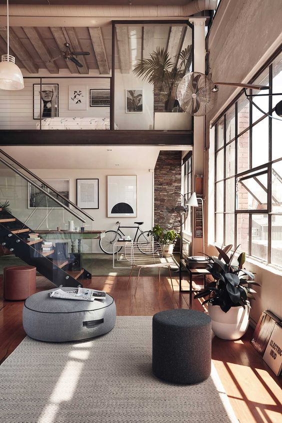 living room industrial decor idea