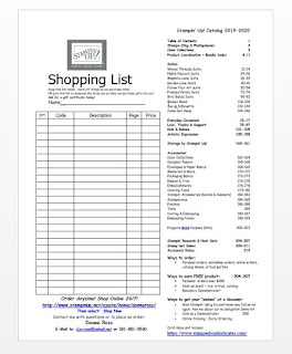 Download a Shopping List to prepare your order for Stampin' Up! OnLine Extravaganza