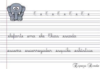 caderno de caligrafia letra E