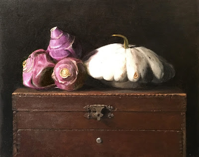 purple kohlrabi, pattypan squash, vintage chest, still life