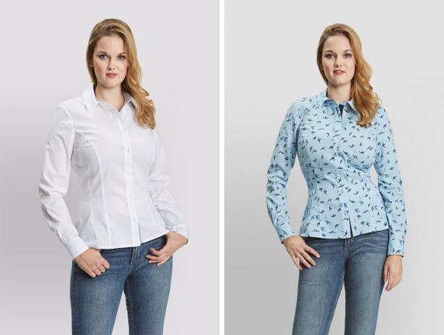 Девушка в голубой и белой приталенной рубашке
