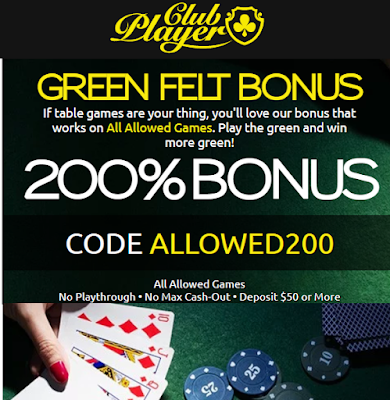 200% No Rules Slots and Table Games Bonus from Club Player Casino