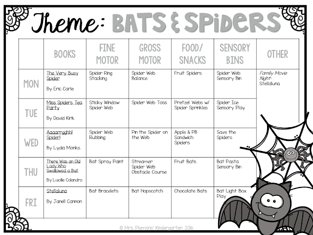 Tons of bat and spider themed activities and ideas. Weekly plan includes books, fine motor, gross motor, sensory bins, snacks and more! Perfect for fall in tot school, preschool, or kindergarten.