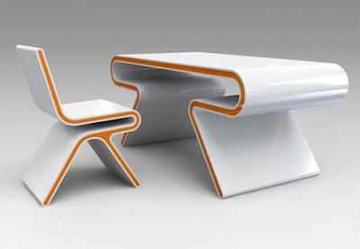 Mesa modelada en 3D co estilo futurista
