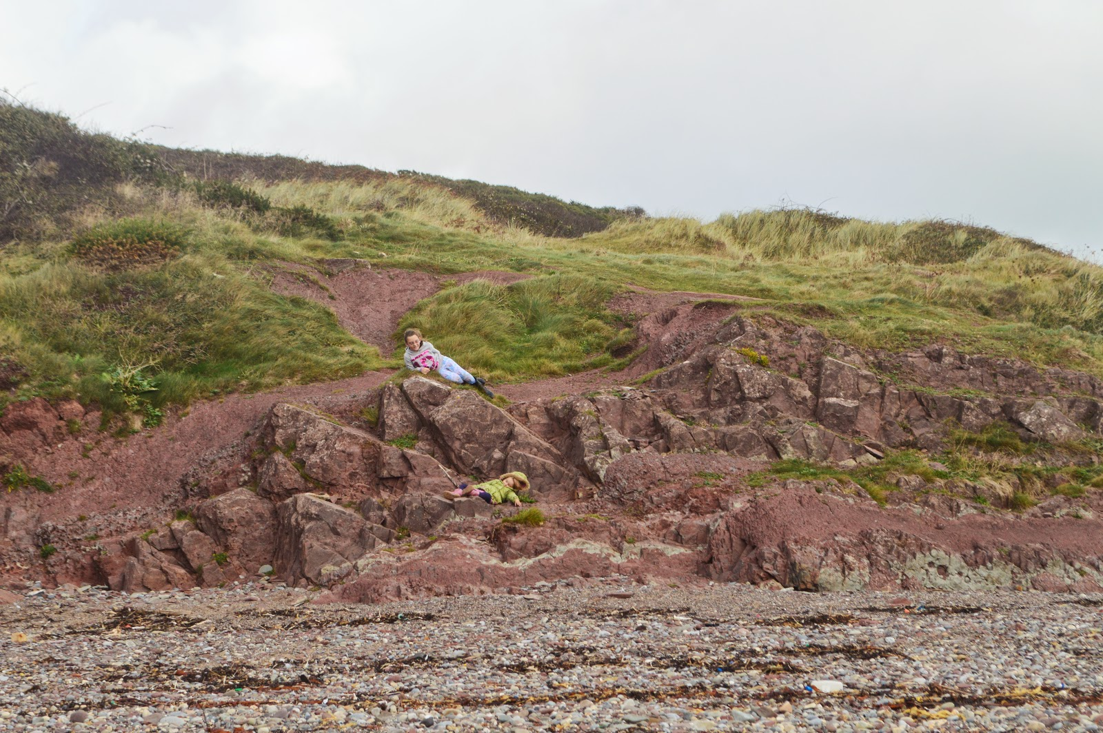 Girls on Rocks Manorbier Beach Pembrokeshire