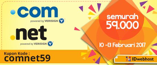 Promo Domain .COM dan .NET Murah IDwebhost