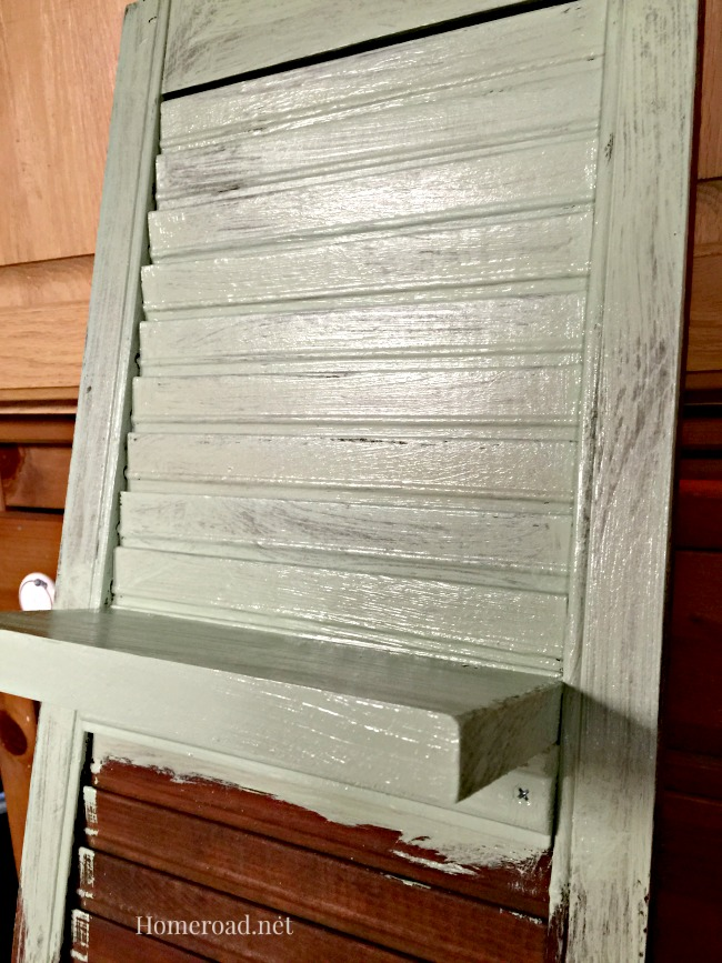 vintage shutter painted in Mineral paint
