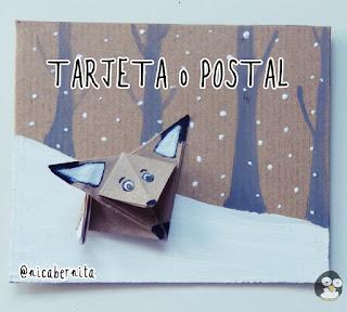 Tarjeta para regalar con zorro de papel origami (Nica Bernita)