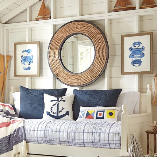 Round Rope Mirror with Metal Frame