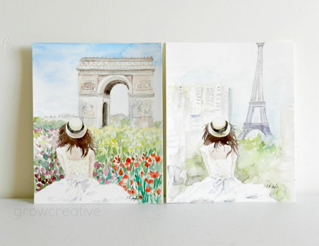 Original Watercolor Painting of Girl in front of Arc de Triomphe and Eiffell Tower, Paris by Elise Engh