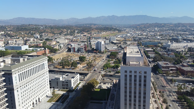 A view of the Los Angeles skyline from the 27th floor observation deck.