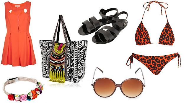 Collage of weekly wishlist items which include an orange playsuit, a boho beach bag, a floral crown, tortoise shell sunglasses, Black sandals, and a red leopard print bikini