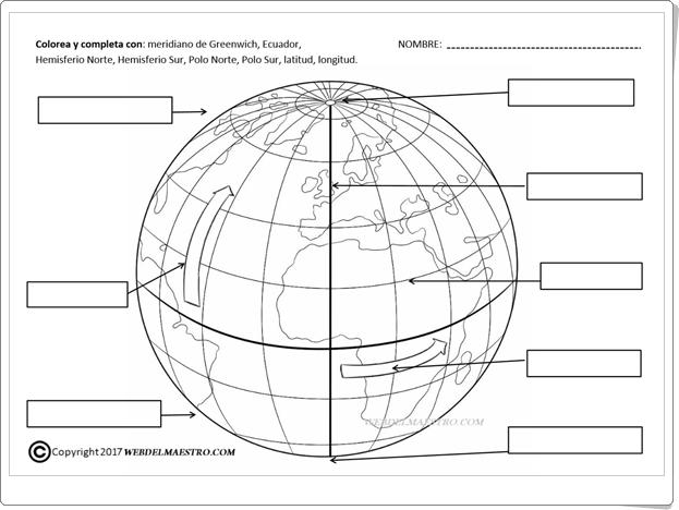 """""""Las Líneas Imaginarias de la Tierra"""" (Ficha de Ciencias Sociales de Primaria)"""