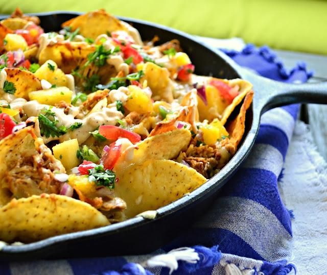skillet nachos al pastor, pineapple salsa