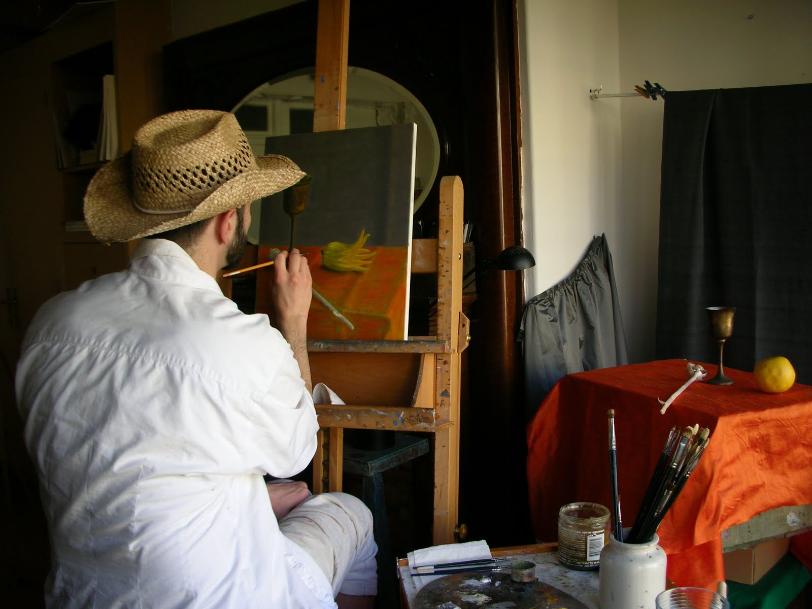 Student working on a still life