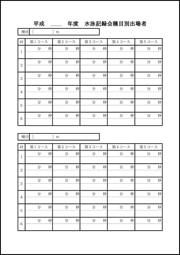 水泳記録会種目別出場者 011