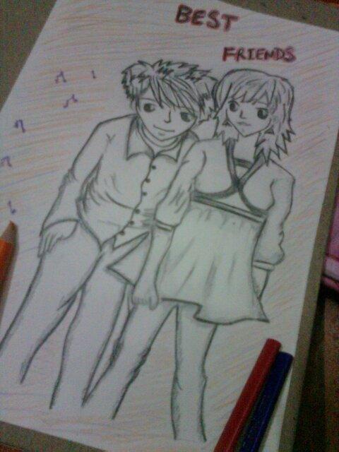 Best friends a pencil sketch
