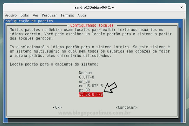 Definindo o pt_BR.UTF-8 como o locale padrão do sistema