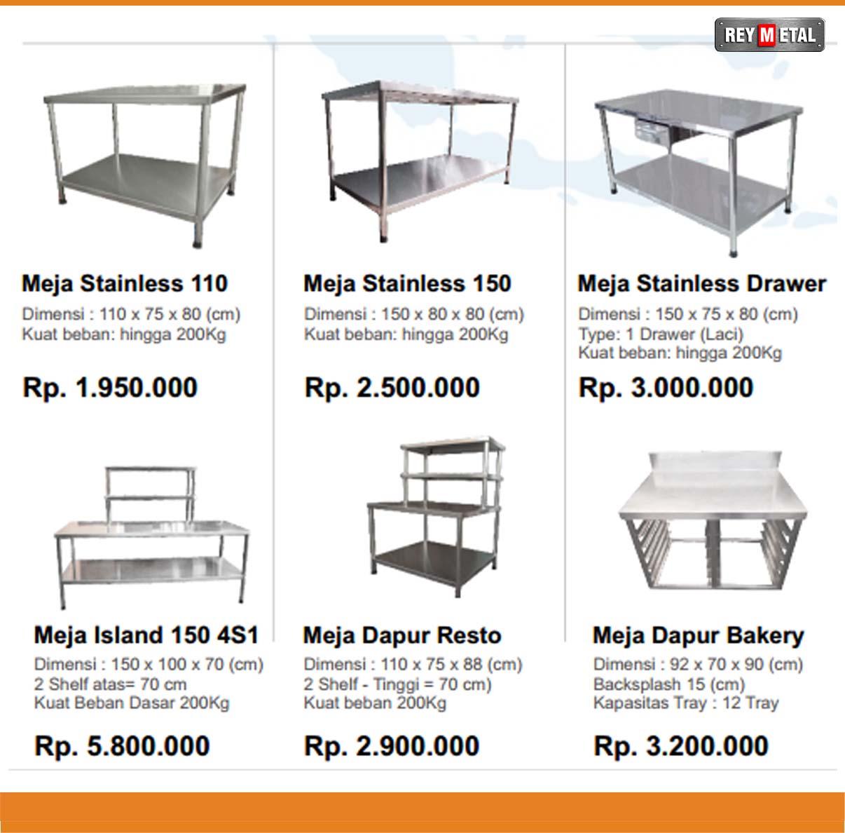 Daftar harga meja dapur stainless terbaru for Harga kitchen set stainless