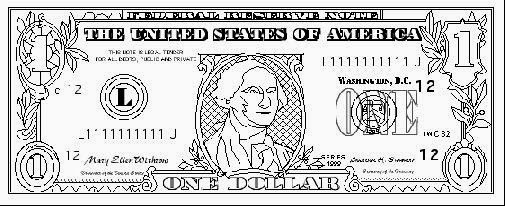 100 Dollar Coloring Page